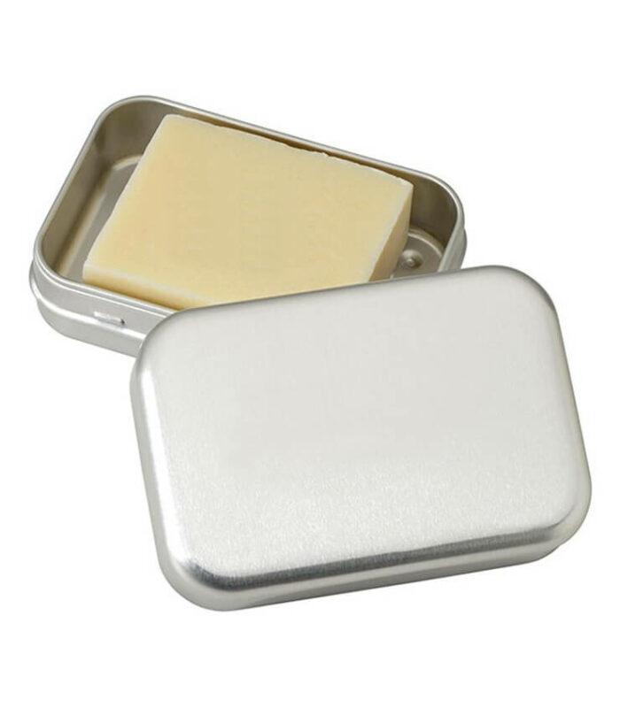 boite pour un savon en aluminium avec egouttoir